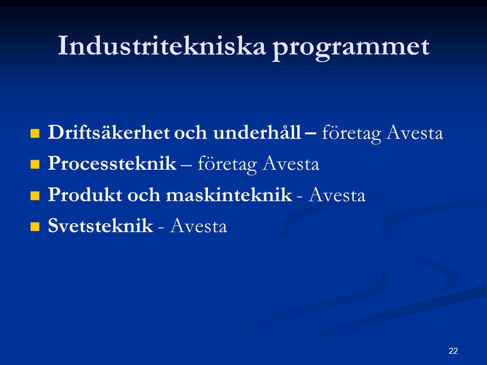 22 Industritekniska programmet   Driftsäkerhet och underhåll – företag Avesta   Processteknik – företag Avesta   Produkt och maskinteknik - Aves