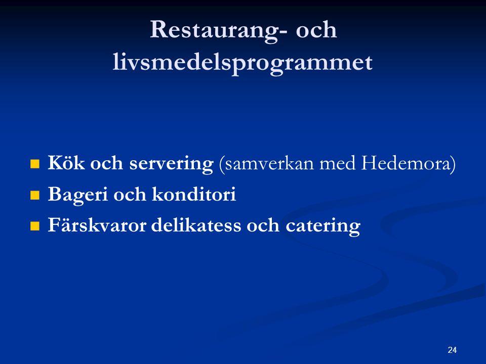 24 Restaurang- och livsmedelsprogrammet   Kök och servering (samverkan med Hedemora)   Bageri och konditori   Färskvaror delikatess och catering