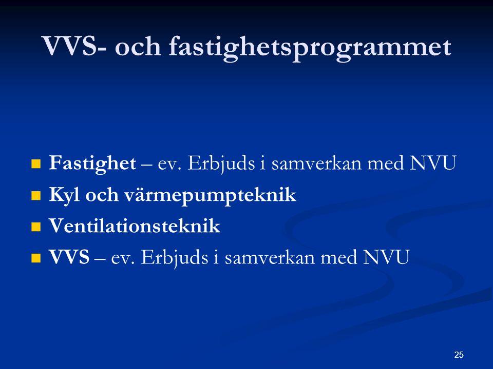 25 VVS- och fastighetsprogrammet   Fastighet – ev. Erbjuds i samverkan med NVU   Kyl och värmepumpteknik   Ventilationsteknik   VVS – ev. Erbj