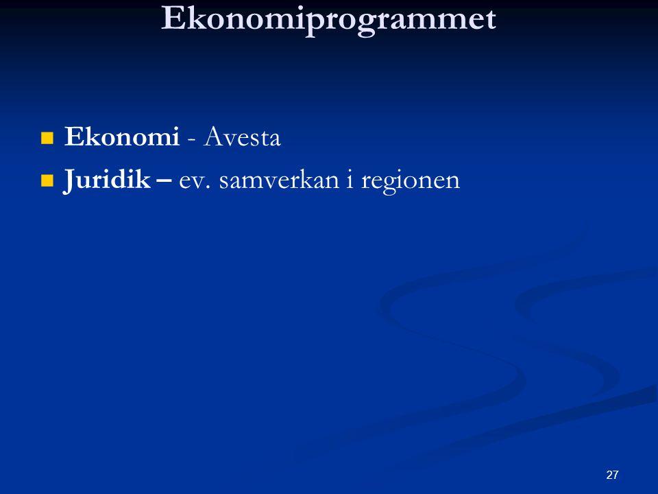 27 Ekonomiprogrammet   Ekonomi - Avesta   Juridik – ev. samverkan i regionen
