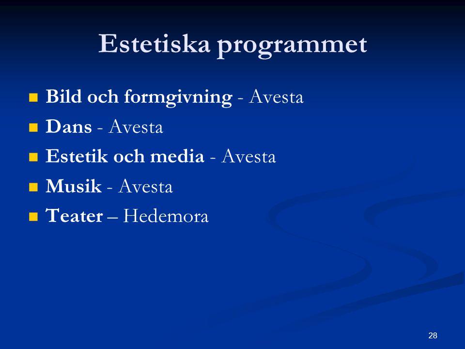 28 Estetiska programmet   Bild och formgivning - Avesta   Dans - Avesta   Estetik och media - Avesta   Musik - Avesta   Teater – Hedemora