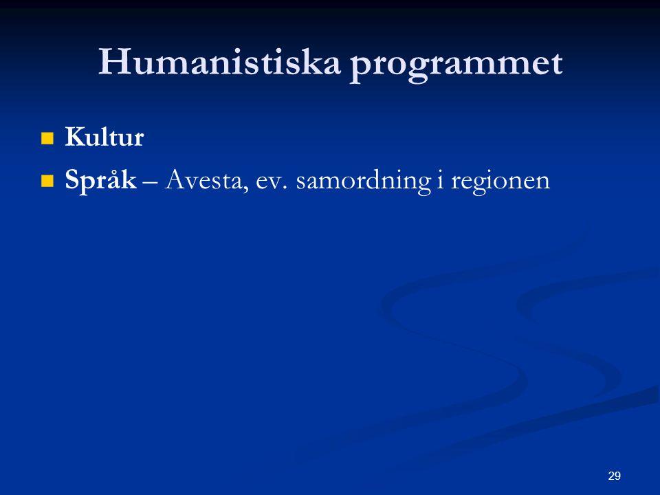 29 Humanistiska programmet   Kultur   Språk – Avesta, ev. samordning i regionen