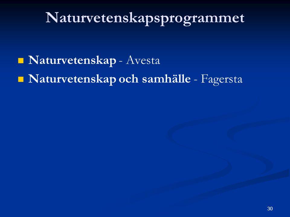 30 Naturvetenskapsprogrammet   Naturvetenskap - Avesta   Naturvetenskap och samhälle - Fagersta