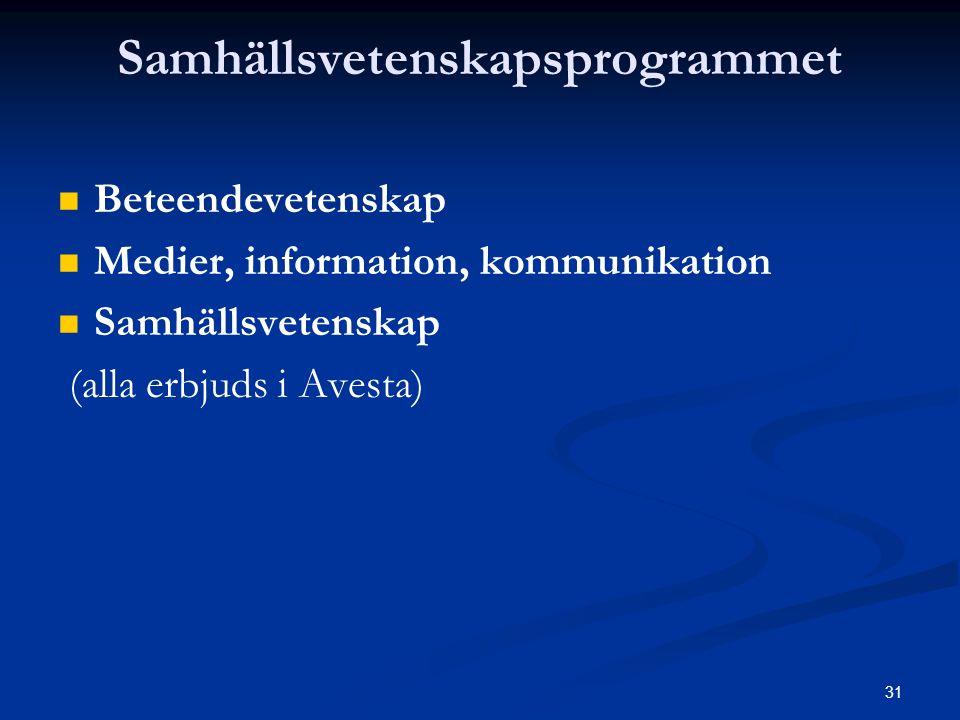 31 Samhällsvetenskapsprogrammet   Beteendevetenskap   Medier, information, kommunikation   Samhällsvetenskap (alla erbjuds i Avesta)