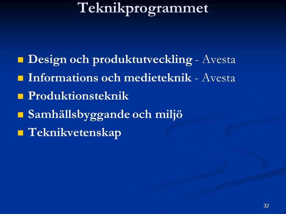 32 Teknikprogrammet   Design och produktutveckling - Avesta   Informations och medieteknik - Avesta   Produktionsteknik   Samhällsbyggande och