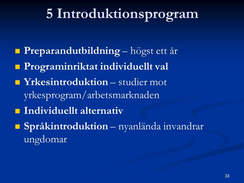 33 5 Introduktionsprogram   Preparandutbildning – högst ett år   Programinriktat individuellt val   Yrkesintroduktion – studier mot yrkesprogram