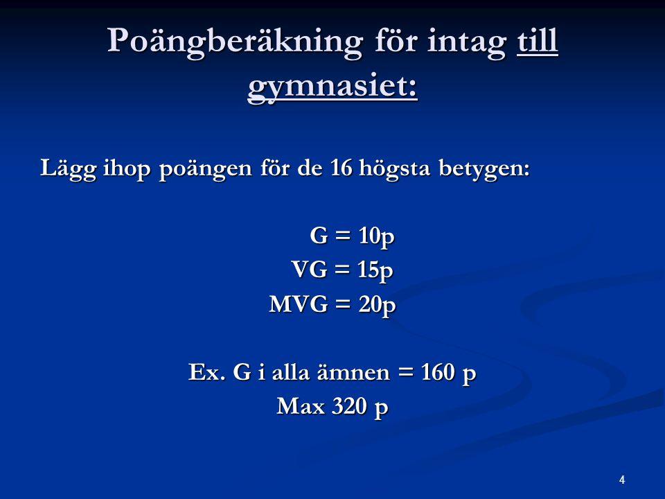 4 Poängberäkning för intag till gymnasiet: Lägg ihop poängen för de 16 högsta betygen: G = 10p G = 10p VG = 15p VG = 15p MVG = 20p Ex. G i alla ämnen