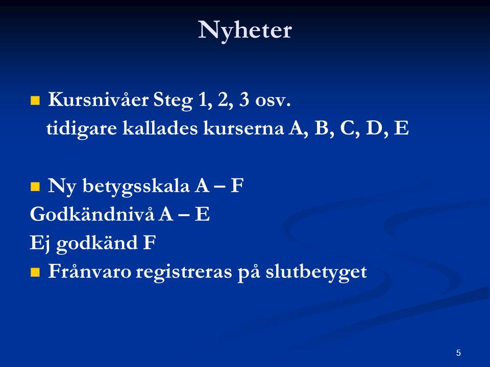 5 Nyheter   Kursnivåer Steg 1, 2, 3 osv. tidigare kallades kurserna A, B, C, D, E   Ny betygsskala A – F Godkändnivå A – E Ej godkänd F   Frånva