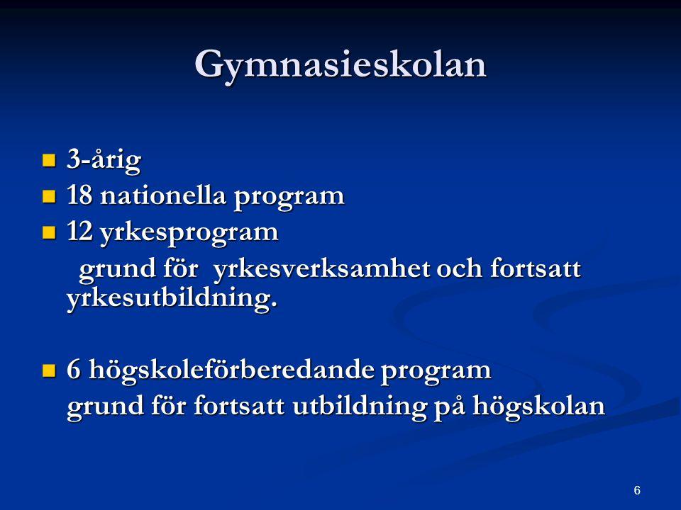 6 Gymnasieskolan  3-årig  18 nationella program  12 yrkesprogram grund för yrkesverksamhet och fortsatt yrkesutbildning. grund för yrkesverksamhet