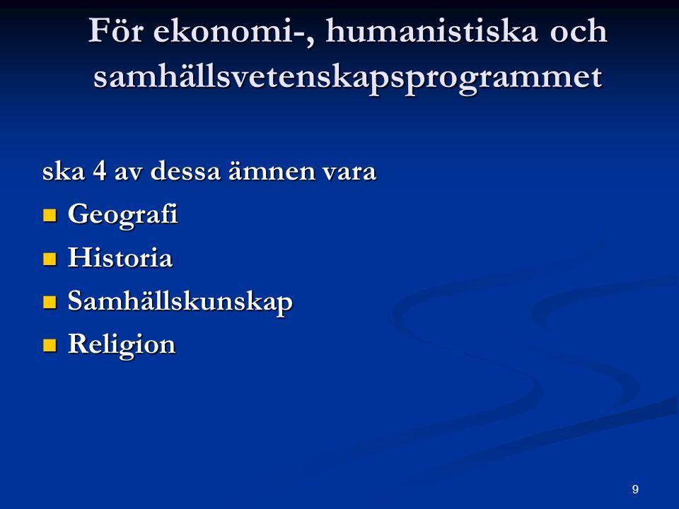 9 För ekonomi-, humanistiska och samhällsvetenskapsprogrammet ska 4 av dessa ämnen vara  Geografi  Historia  Samhällskunskap  Religion