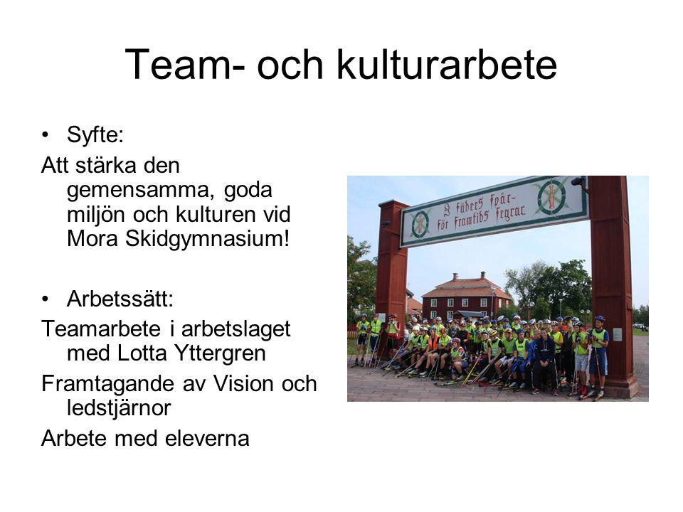 Team- och kulturarbete •Syfte: Att stärka den gemensamma, goda miljön och kulturen vid Mora Skidgymnasium! •Arbetssätt: Teamarbete i arbetslaget med L