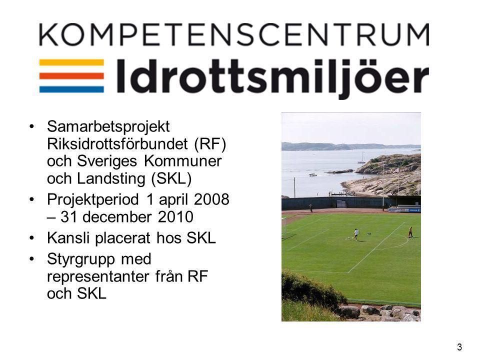 3 •Samarbetsprojekt Riksidrottsförbundet (RF) och Sveriges Kommuner och Landsting (SKL) •Projektperiod 1 april 2008 – 31 december 2010 •Kansli placerat hos SKL •Styrgrupp med representanter från RF och SKL