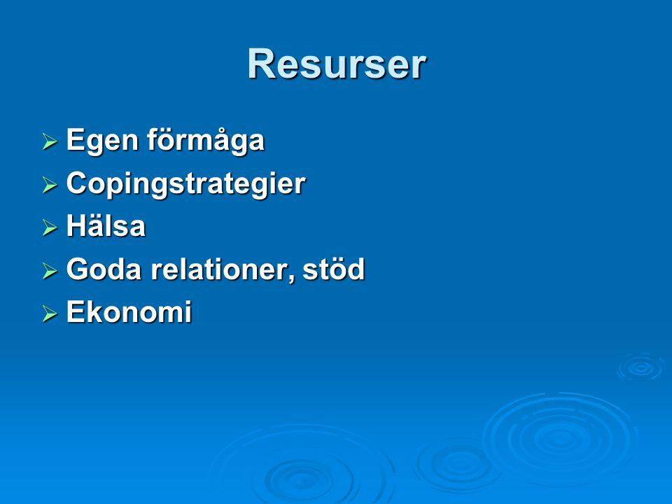 Resurser  Egen förmåga  Copingstrategier  Hälsa  Goda relationer, stöd  Ekonomi