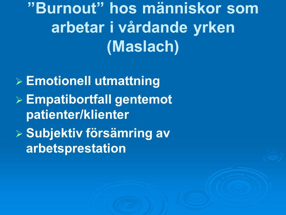 Burnout hos människor som arbetar i vårdande yrken (Maslach)   Emotionell utmattning   Empatibortfall gentemot patienter/klienter   Subjektiv försämring av arbetsprestation