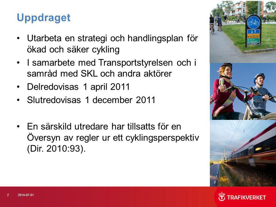 22014-07-01 Uppdraget •Utarbeta en strategi och handlingsplan för ökad och säker cykling •I samarbete med Transportstyrelsen och i samråd med SKL och