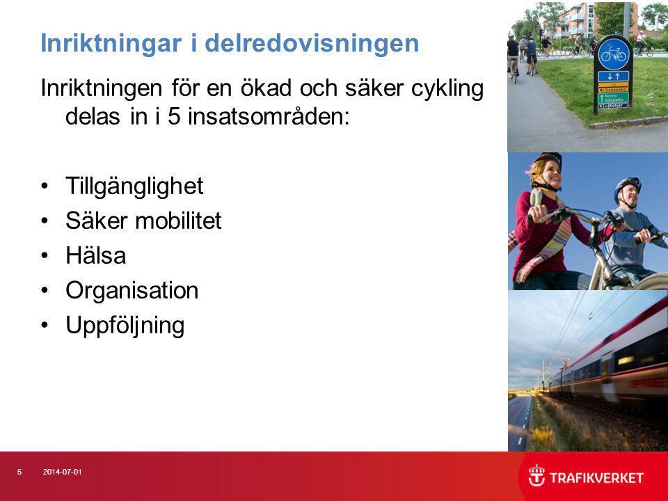 62014-07-01 Insatsområde Tillgänglighet •Stödja utveckling och framtagande av regionala cykelplaner •Plan för att täcka kunskapsluckor avseende kalkylvärden i samhällsekonomiska modeller •Plan för utökad samverkan mellan Trafikverket och kommuner vad gäller områdesvisa infrastrukturåtgärder •Kravspec för cykelparkeringar, bl.a.