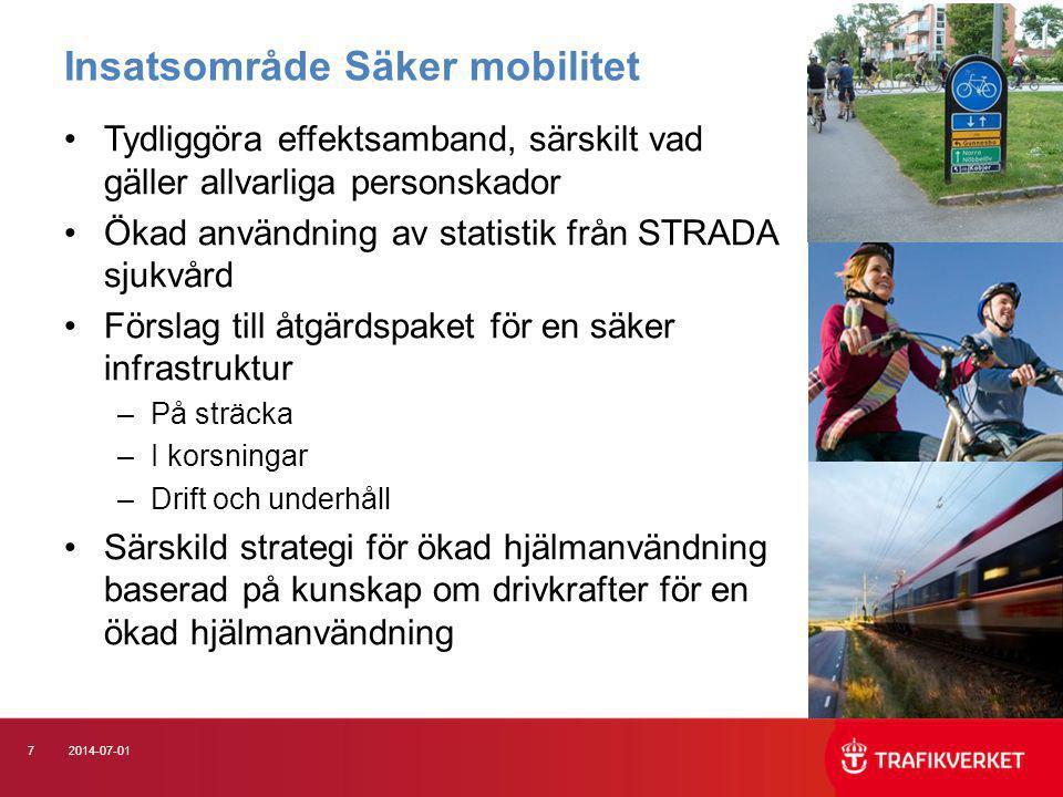 82014-07-01 •Peka på effektiva insatser som kan få barn, unga och invanda bilister att börja (gå och) cykla •Utveckla sambandet fysisk aktivitet på recept och cykling Insatsområde Hälsa