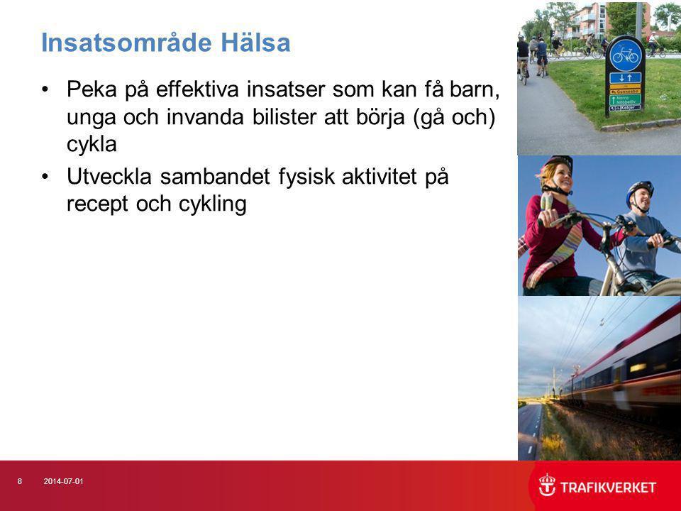 82014-07-01 •Peka på effektiva insatser som kan få barn, unga och invanda bilister att börja (gå och) cykla •Utveckla sambandet fysisk aktivitet på re