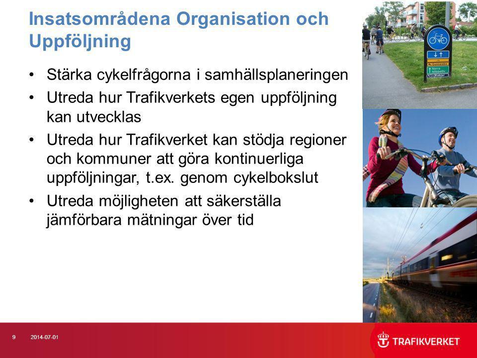 92014-07-01 •Stärka cykelfrågorna i samhällsplaneringen •Utreda hur Trafikverkets egen uppföljning kan utvecklas •Utreda hur Trafikverket kan stödja r