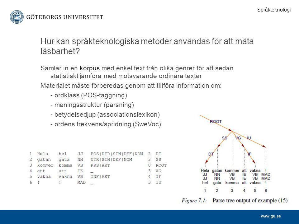 www.gu.se Hur kan språkteknologiska metoder användas för att mäta läsbarhet? Samlar in en korpus med enkel text från olika genrer för att sedan statis