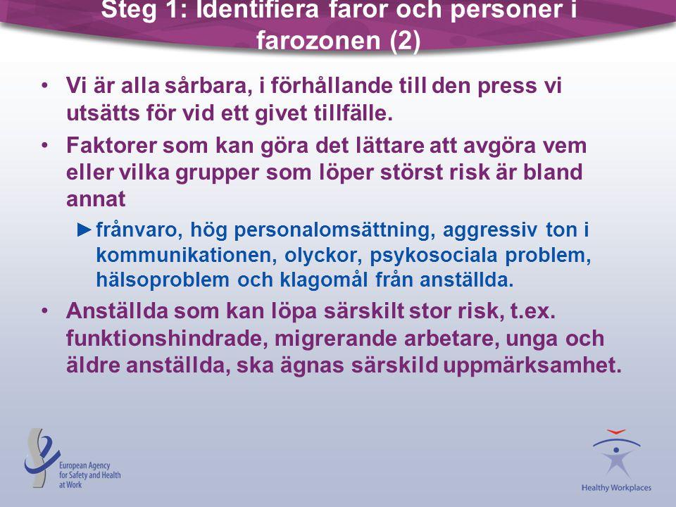 Steg 1: Identifiera faror och personer i farozonen (2) •Vi är alla sårbara, i förhållande till den press vi utsätts för vid ett givet tillfälle. •Fakt