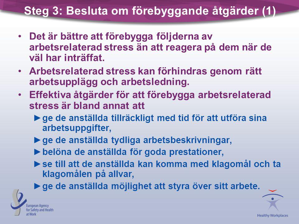 Steg 3: Besluta om förebyggande åtgärder (1) •Det är bättre att förebygga följderna av arbetsrelaterad stress än att reagera på dem när de väl har int