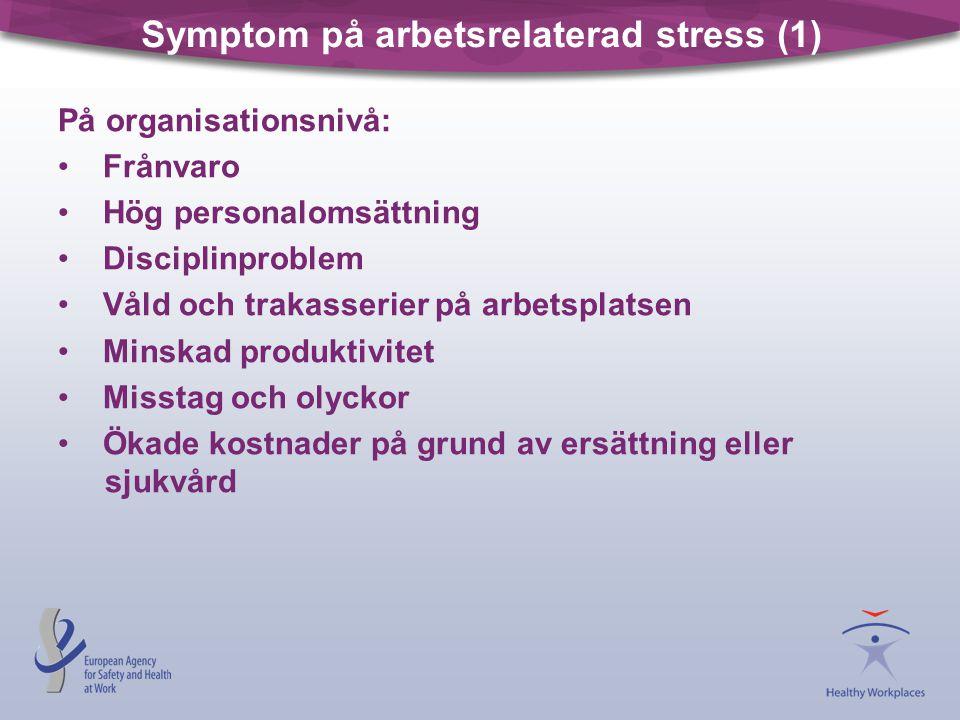 Symptom på arbetsrelaterad stress (1) På organisationsnivå: • Frånvaro • Hög personalomsättning • Disciplinproblem • Våld och trakasserier på arbetspl