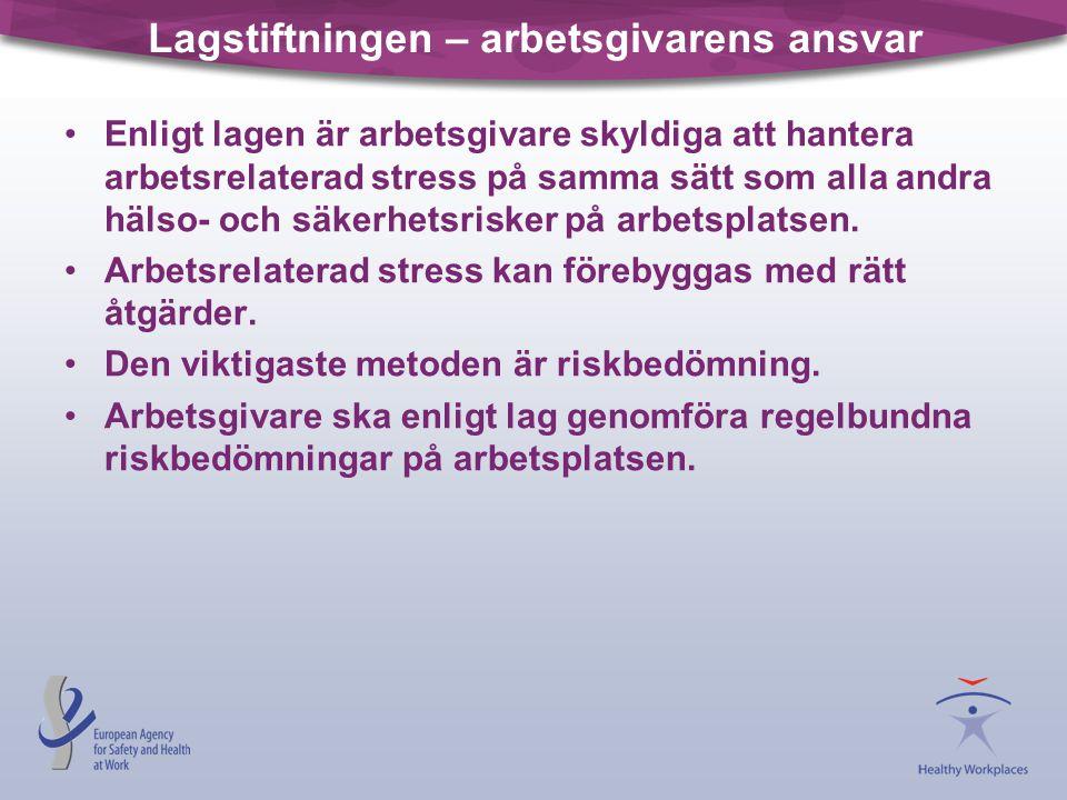 Lagstiftningen – arbetsgivarens ansvar •Enligt lagen är arbetsgivare skyldiga att hantera arbetsrelaterad stress på samma sätt som alla andra hälso- o