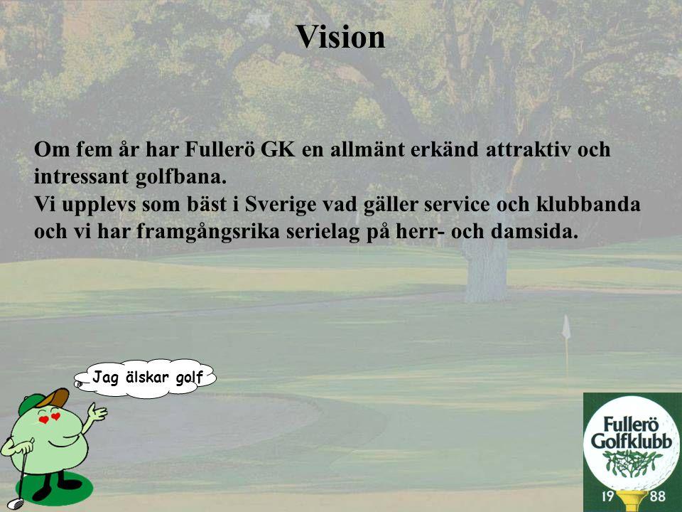 Vision Om fem år har Fullerö GK en allmänt erkänd attraktiv och intressant golfbana. Vi upplevs som bäst i Sverige vad gäller service och klubbanda oc