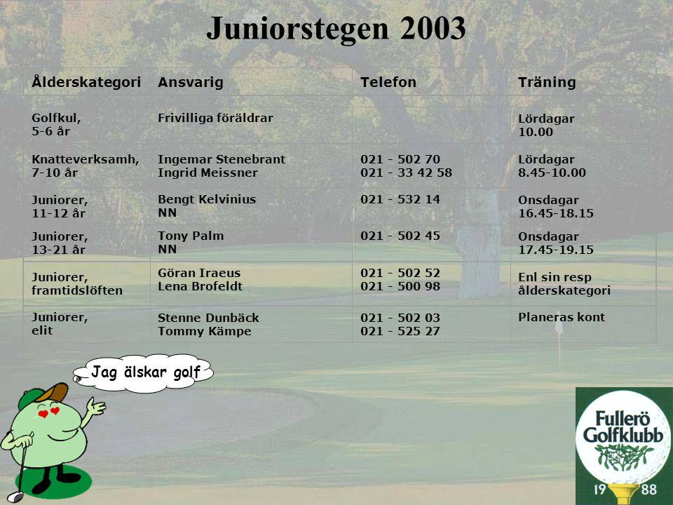 Jag älskar golf Juniorstegen 2003 ÅlderskategoriAnsvarigTelefonTräning Golfkul, 5-6 år Frivilliga föräldrar Lördagar 10.00 Knatteverksamh, 7-10 år Ing