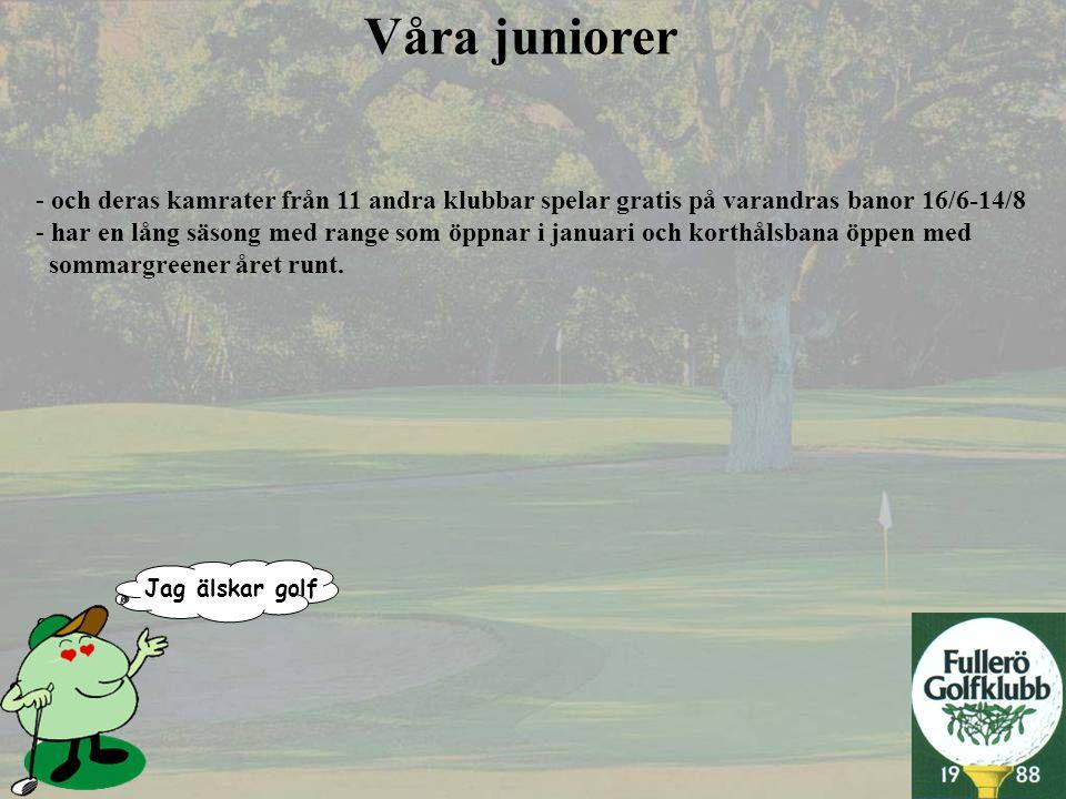 Jag älskar golf Våra juniorer - och deras kamrater från 11 andra klubbar spelar gratis på varandras banor 16/6-14/8 - har en lång säsong med range som