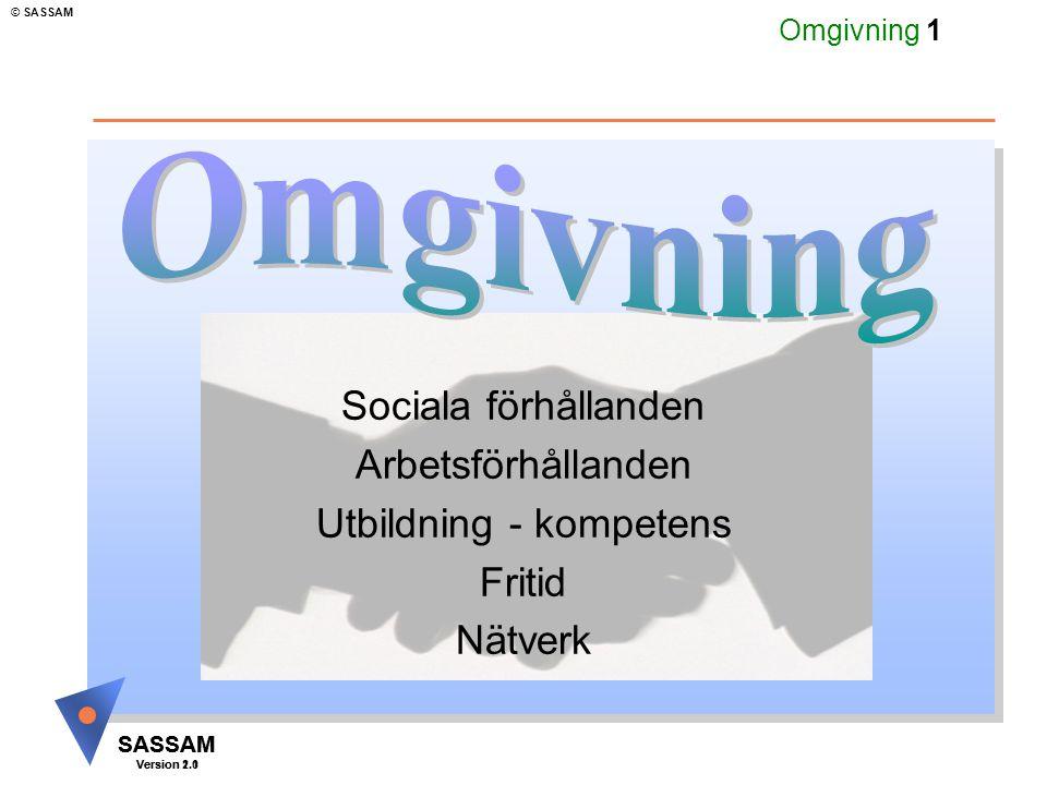 SASSAM Version 1.1 © SASSAM SASSAM Version 2.0 Omgivning 12 Levnadsförhållanden u Barndom och uppväxt u Bostadsförhållanden u Kommunikationer u Levnadsvanor u Kulturell miljö u Socialt nätverk u Alkohol- och drogvanor