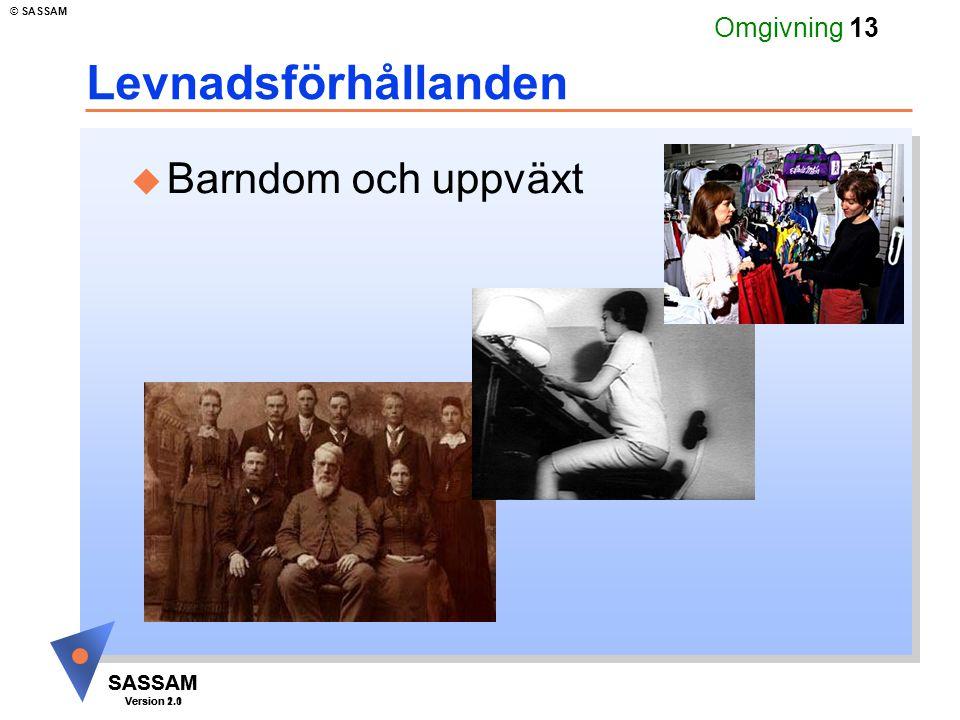 SASSAM Version 1.1 © SASSAM SASSAM Version 2.0 Omgivning 13 u Barndom och uppväxt Levnadsförhållanden