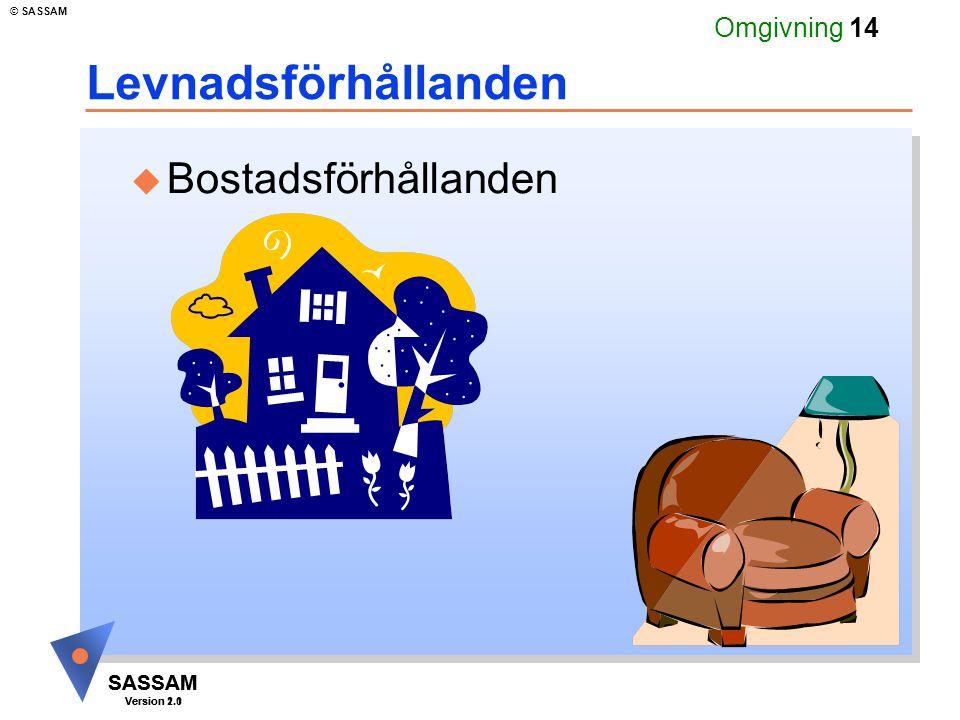 SASSAM Version 1.1 © SASSAM SASSAM Version 2.0 Omgivning 14 Levnadsförhållanden u Bostadsförhållanden