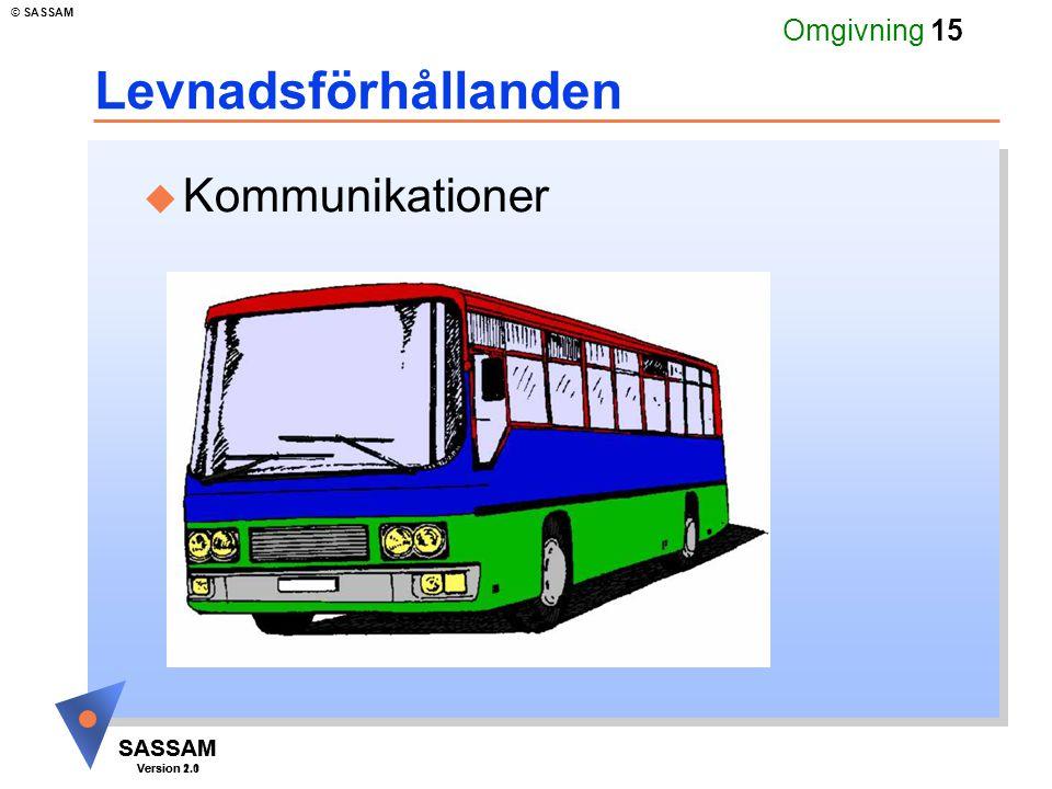 SASSAM Version 1.1 © SASSAM SASSAM Version 2.0 Omgivning 15 Levnadsförhållanden u Kommunikationer