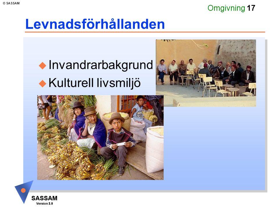 SASSAM Version 1.1 © SASSAM SASSAM Version 2.0 Omgivning 17 Levnadsförhållanden u Invandrarbakgrund u Kulturell livsmiljö