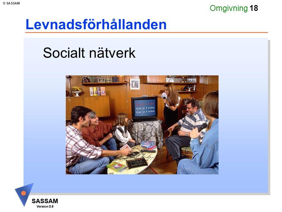 SASSAM Version 1.1 © SASSAM SASSAM Version 2.0 Omgivning 18 Levnadsförhållanden Socialt nätverk