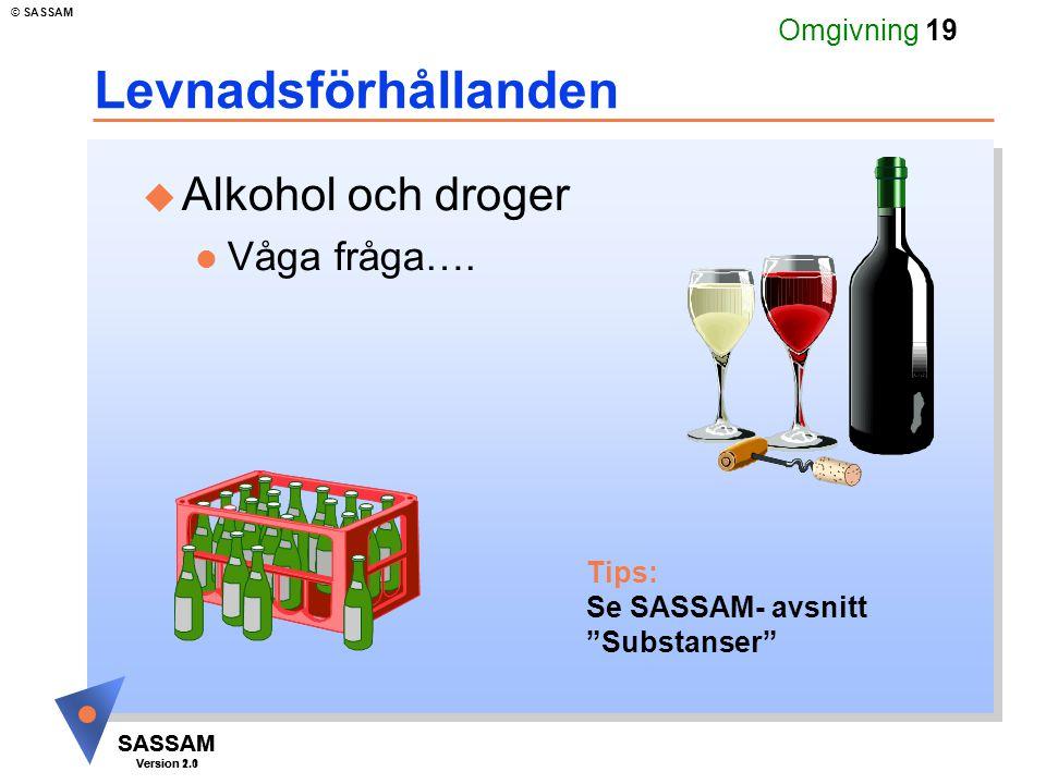 SASSAM Version 1.1 © SASSAM SASSAM Version 2.0 Omgivning 19 Levnadsförhållanden u Alkohol och droger l Våga fråga….