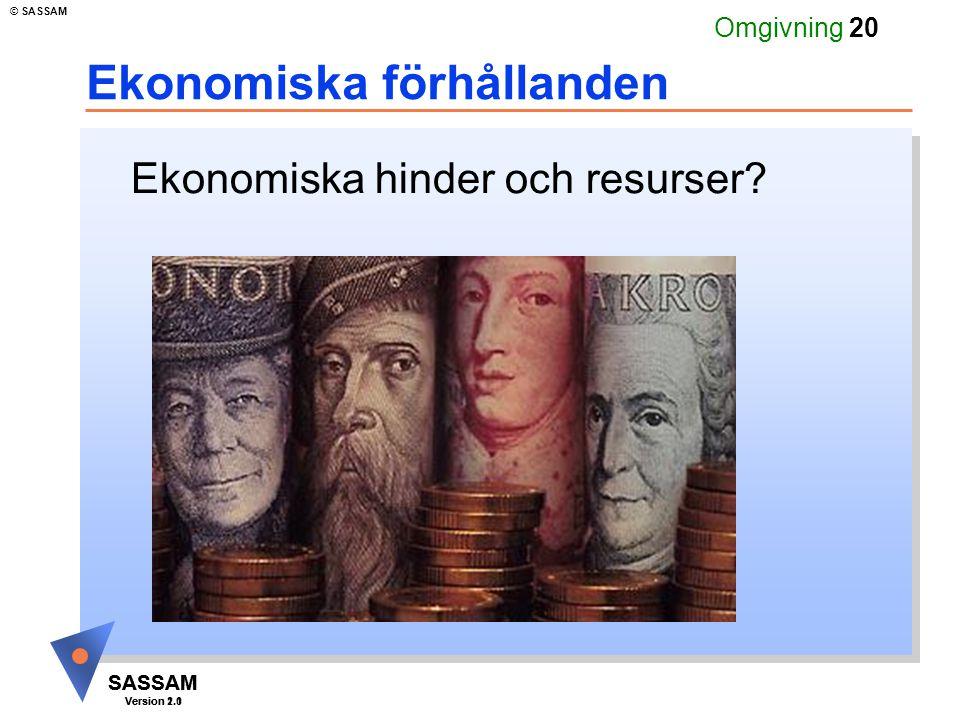 SASSAM Version 1.1 © SASSAM SASSAM Version 2.0 Omgivning 20 Ekonomiska förhållanden Ekonomiska hinder och resurser