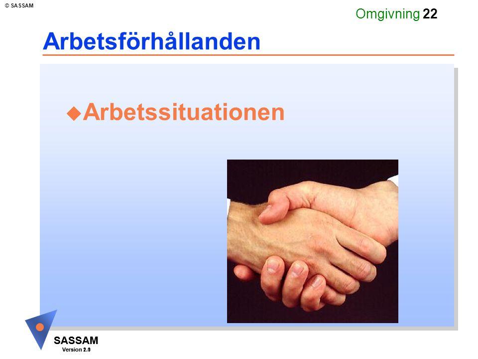 SASSAM Version 1.1 © SASSAM SASSAM Version 2.0 Omgivning 22 Arbetsförhållanden u Arbetssituationen