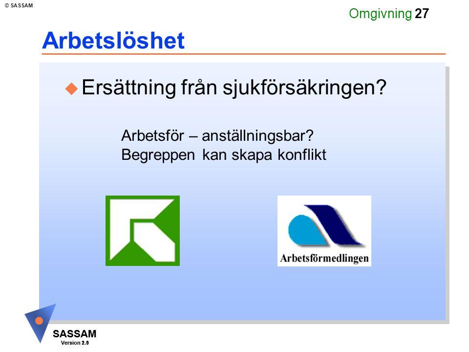 SASSAM Version 1.1 © SASSAM SASSAM Version 2.0 Omgivning 27 Arbetslöshet u Ersättning från sjukförsäkringen.