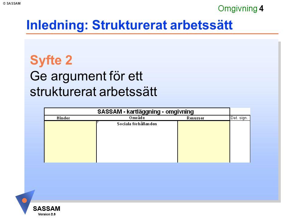 SASSAM Version 1.1 © SASSAM SASSAM Version 2.0 Omgivning 4 Inledning: Strukturerat arbetssätt Syfte 2 Ge argument för ett strukturerat arbetssätt