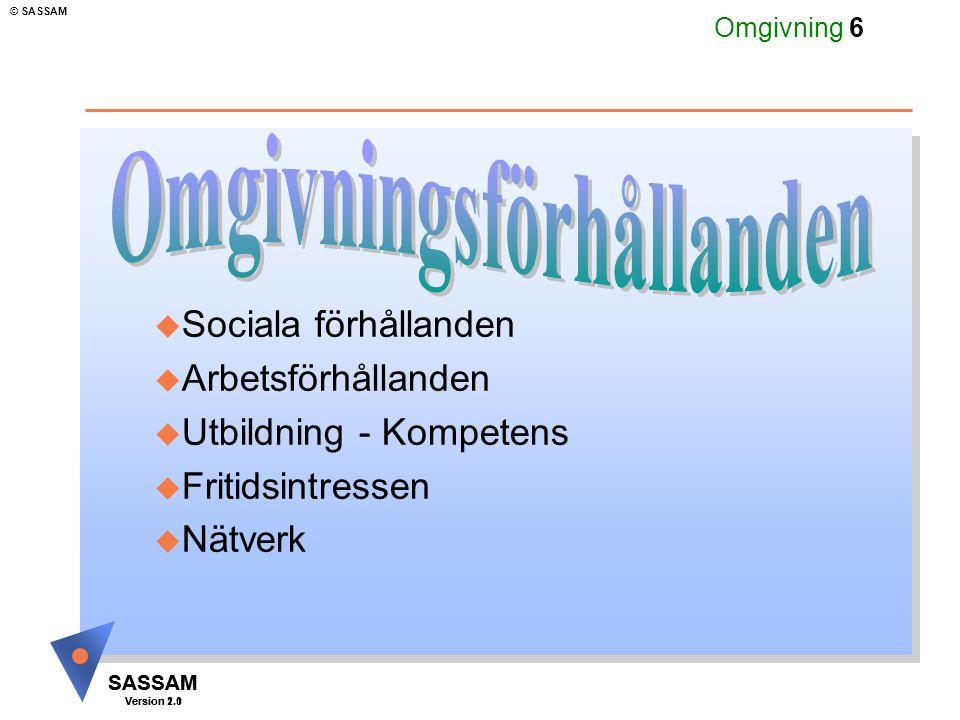SASSAM Version 1.1 © SASSAM SASSAM Version 2.0 Omgivning 7 Sociala förhållanden avser u Familjeförhållanden u Levnadsförhållanden u Ekonomiska förhållanden u Socialt nätverk Sociala förhållanden