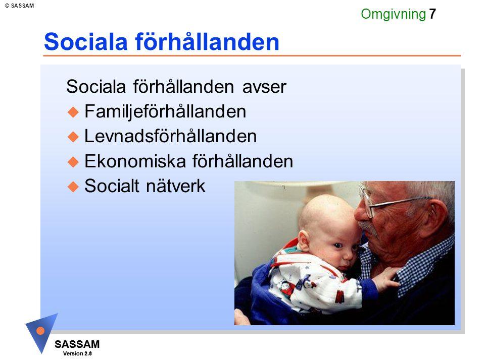 SASSAM Version 1.1 © SASSAM SASSAM Version 2.0 Omgivning 8 Familjeförhållanden u Familjeförhållanden - Barn och barntillsyn - Make/maka/sambo - Hushållsarbete
