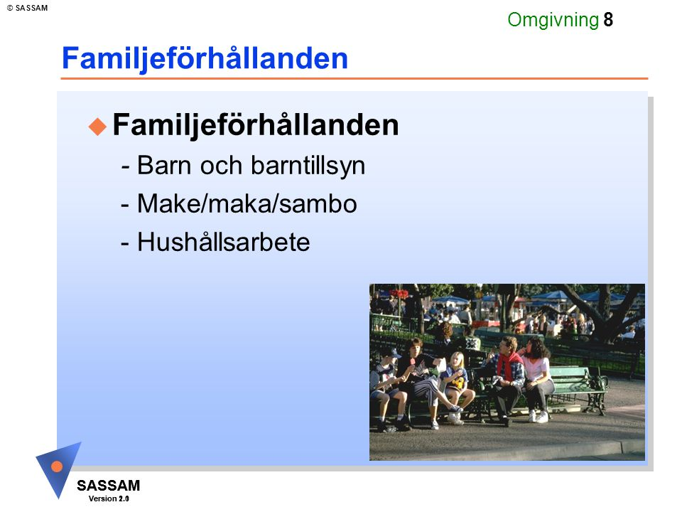 SASSAM Version 1.1 © SASSAM SASSAM Version 2.0 Omgivning 9 Familjeförhållanden u Barn och barntillsyn