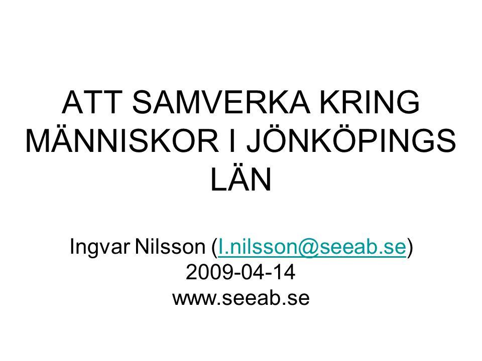 ATT SAMVERKA KRING MÄNNISKOR I JÖNKÖPINGS LÄN Ingvar Nilsson (I.nilsson@seeab.se) 2009-04-14 www.seeab.seI.nilsson@seeab.se