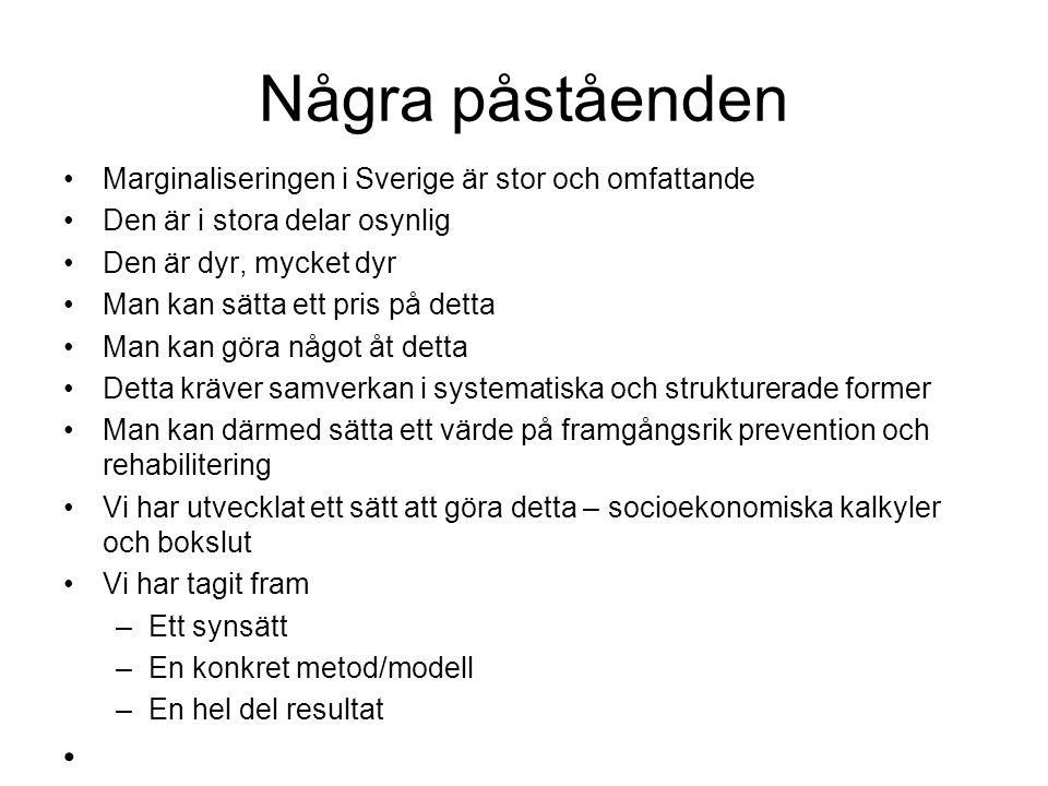Några påståenden •Marginaliseringen i Sverige är stor och omfattande •Den är i stora delar osynlig •Den är dyr, mycket dyr •Man kan sätta ett pris på