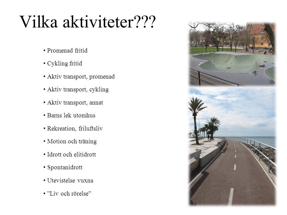 Vilka aktiviteter??? • Promenad fritid • Cykling fritid • Aktiv transport, promenad • Aktiv transport, cykling • Aktiv transport, annat • Barns lek ut