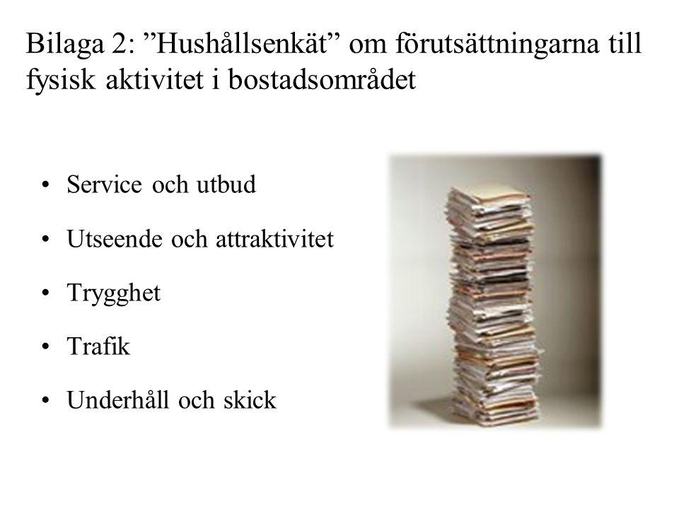 """Bilaga 2: """"Hushållsenkät"""" om förutsättningarna till fysisk aktivitet i bostadsområdet •Service och utbud •Utseende och attraktivitet •Trygghet •Trafik"""