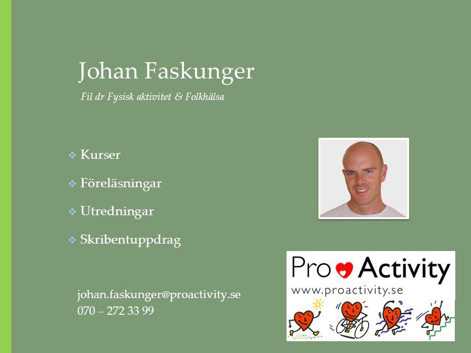 Johan Faskunger Fil dr Fysisk aktivitet & Folkhälsa johan.faskunger@proactivity.se 070 – 272 33 99  Kurser  Föreläsningar  Utredningar  Skribentup